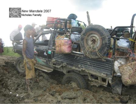 Stuck in the mud on a Burma road