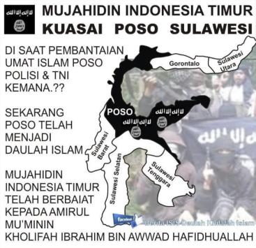 ISIS separatists? An image shared on twitter depicts large parts of Sulawesi taken over by ISIS. Images such as this are sure to feed into the governments perception of ISIS as a territorial threat.