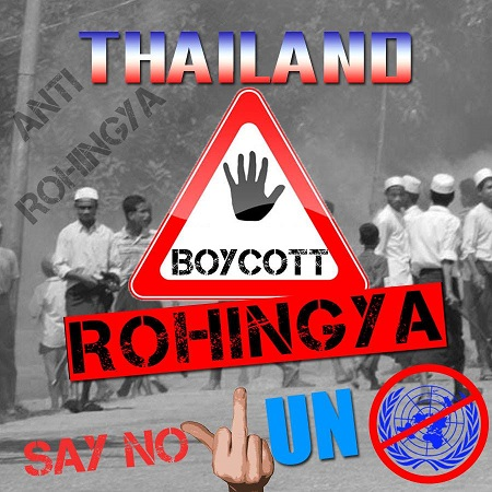 """Picture from anti-Rohingya Facebook page """"No Rohingya""""."""