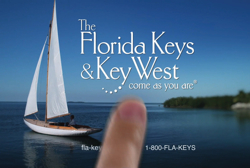 A still frame from a new television campaign produced by Tinsley Advertising for the Monroe County (Florida Keys) Tourist Development Council. Image courtesy Florida Keys News Bureau