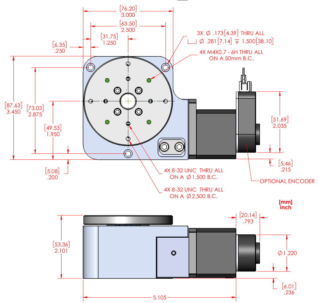 RM-3 Motorized Rotary Stage - Extended Temperature Range