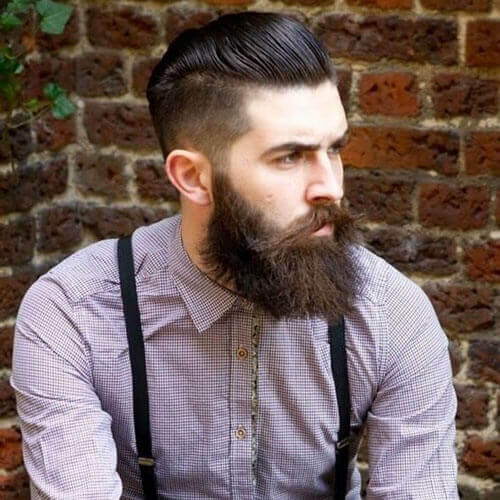 Slicked Back Undercut + Long Unkempt Beard Style
