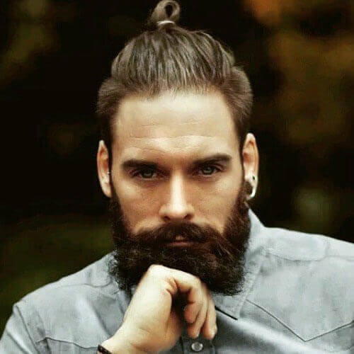 Ponytail + Thick Brown Beard Style