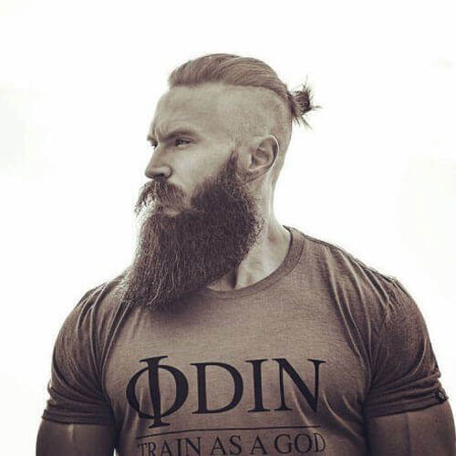 Shaved Sides + Top Knot + Long Beard Style