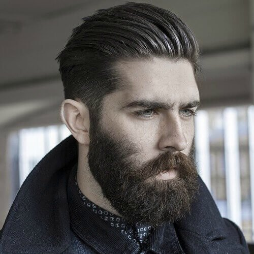 Textured Slick Back Taper with Full Medium Beard Style