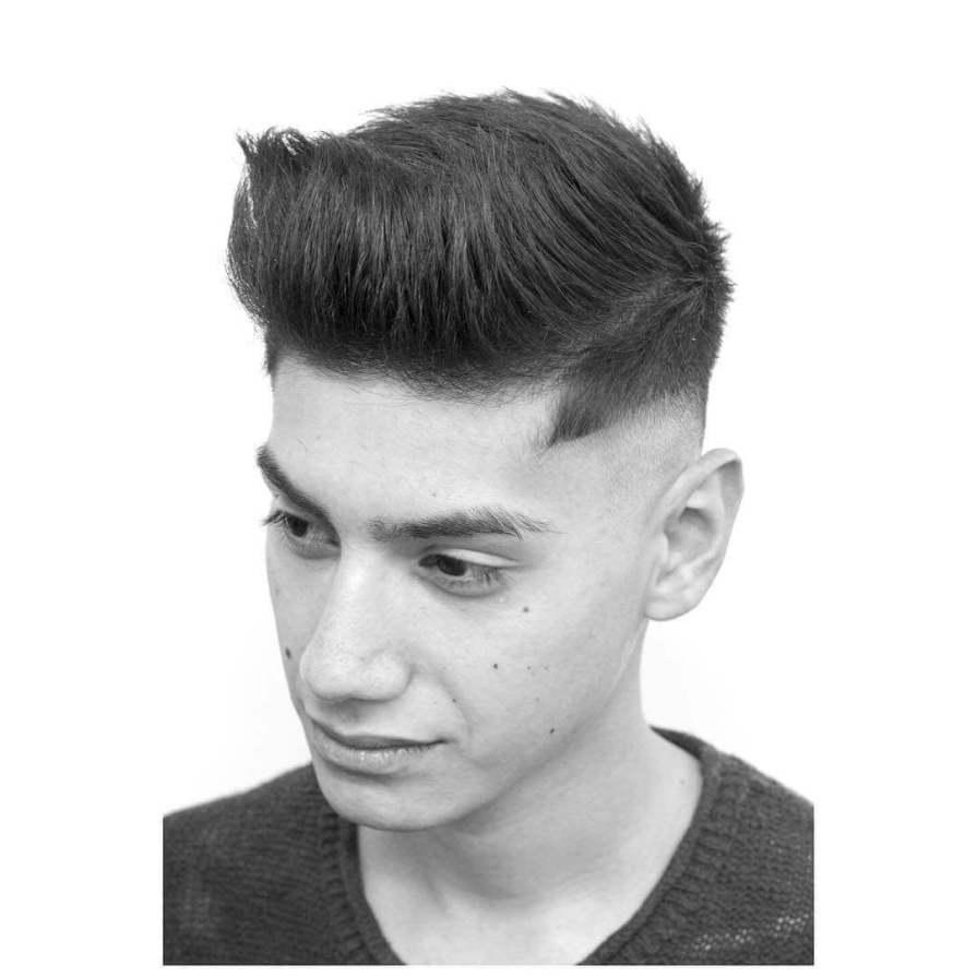Quiff Haircut + Mid Skin Fade