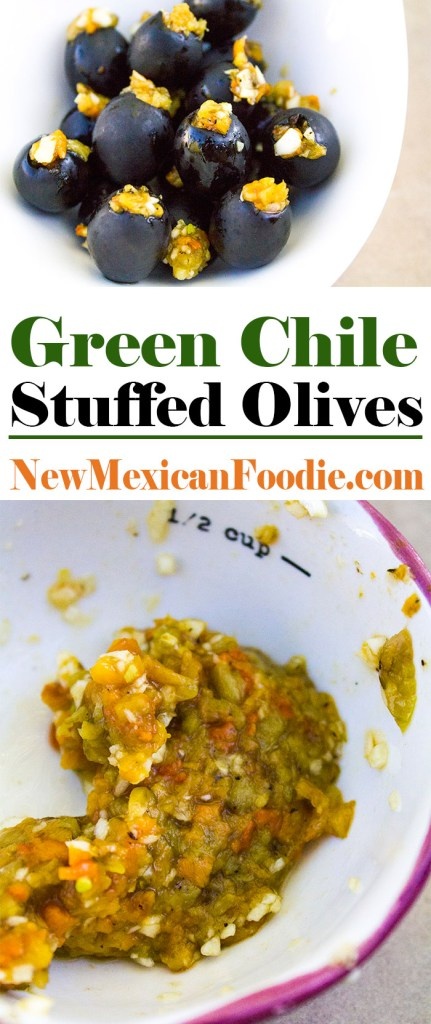 Green Chile Stuffed Olives | NewMexicanFoodie.com