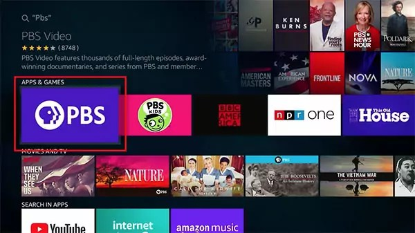 Fire TV Search PBS
