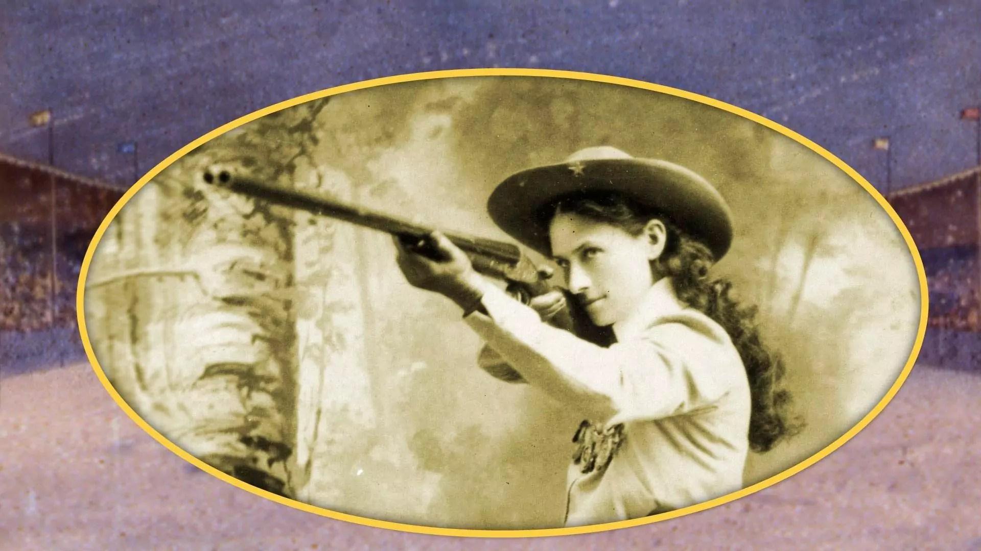 Annie Oakley shooting a rifle.