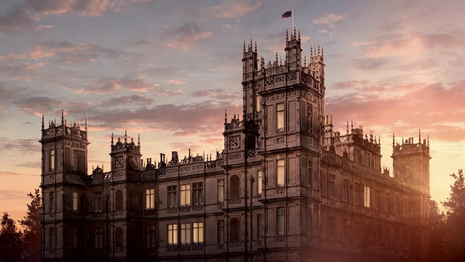 The Downton Abbey Castle at sunset.