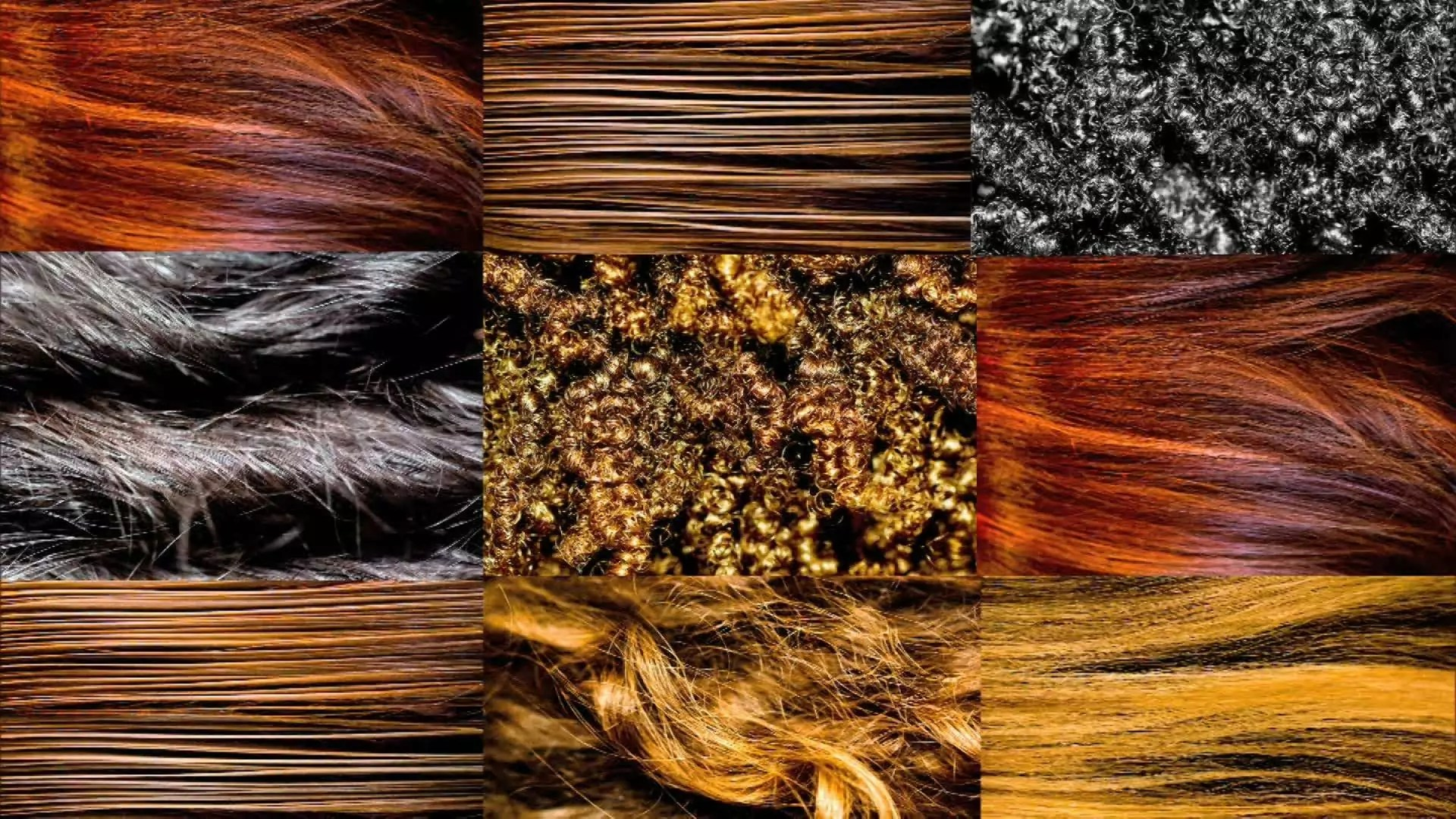 Composite of nine images of different types of hair.