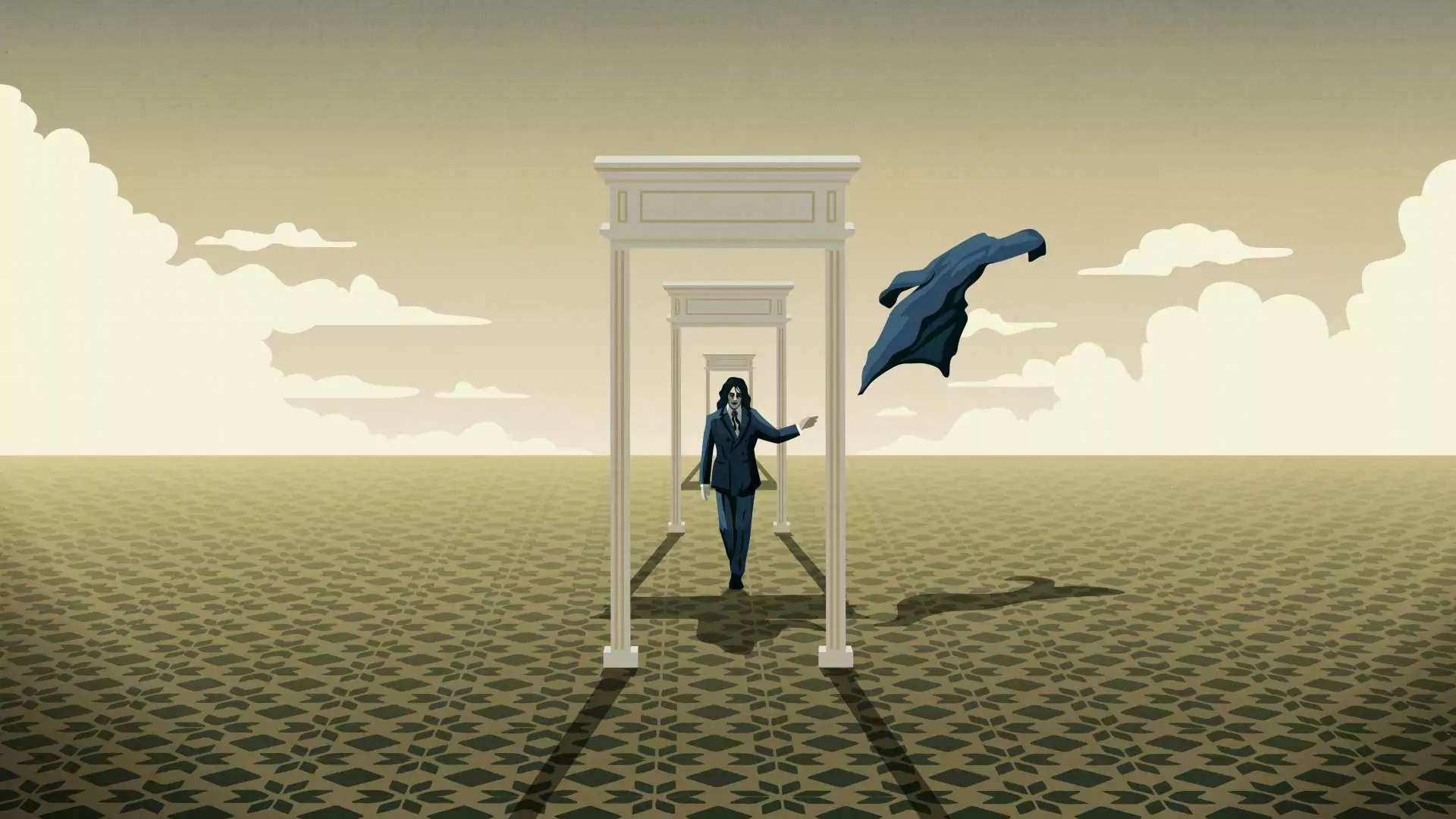 A pale man with long hair walks through surreal corridors, throwing a shirt to the wind.