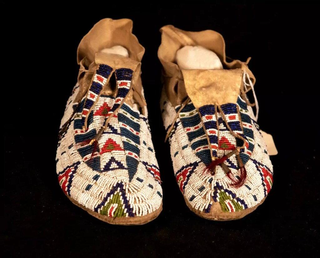 Close-up of a pair of moccasins.