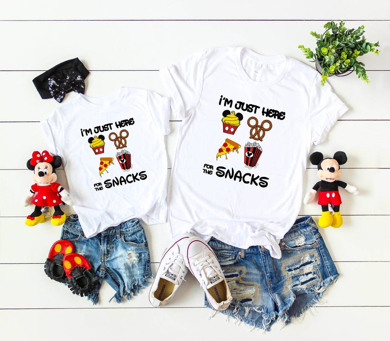 Funny Snacks Graphic Tee Family Mathing T-Shirt Im Just Here for The Snacks Shirt Minnie Snacks Tee