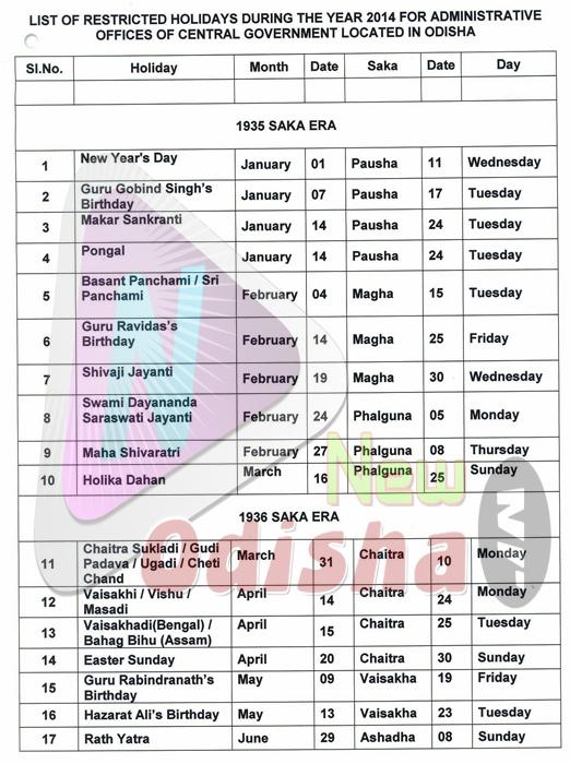 Central Govt Optional Holidays 2014 in Odisha