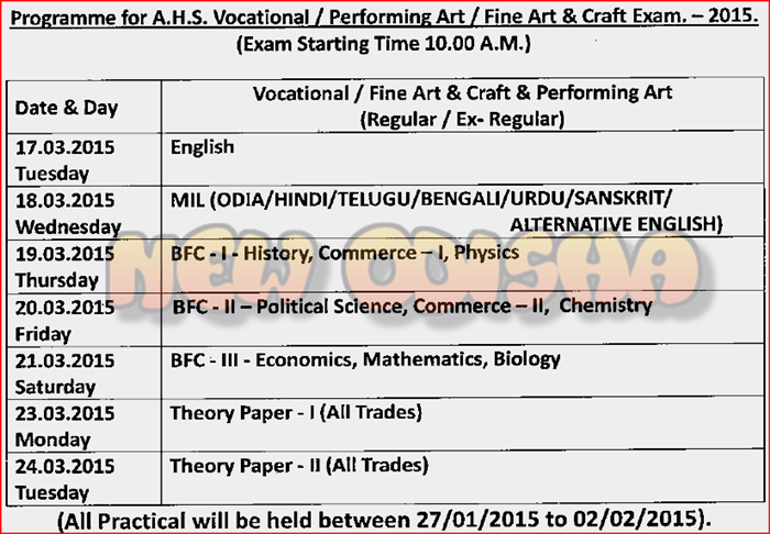 CHSE +2 Vocational exam 2015 time table