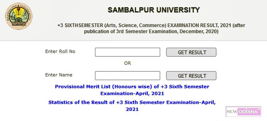 Sambalpur University : +3 Sixth Sem Arts, Science, Commerce Results 2021