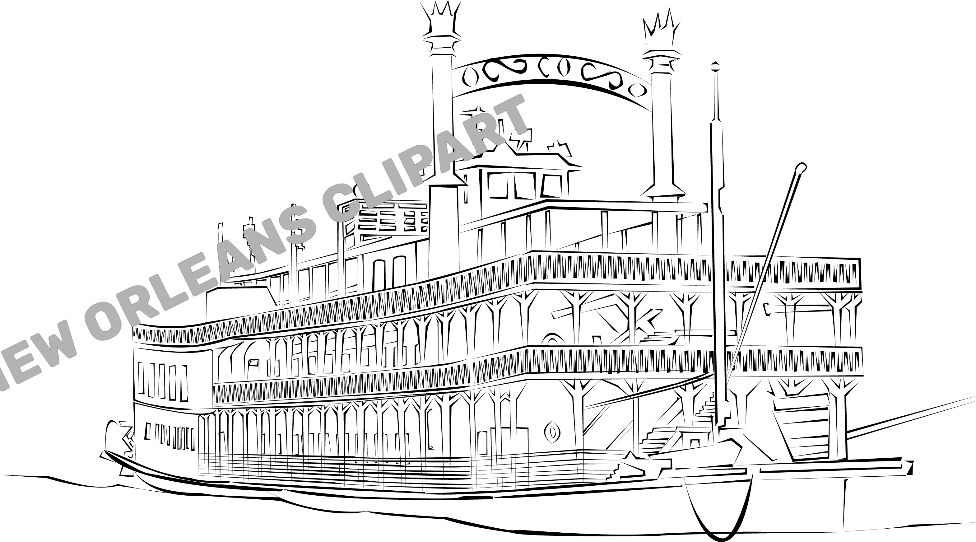 New Orleans Steamboat Natchez Clip Art