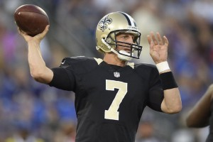 New Orleans Saints quarterback Luke McCown (7) passes during the first half of an NFL preseason football game against the Baltimore Ravens in Baltimore, Thursday, Aug. 13, 2015. (AP Photo/Nick Wass)