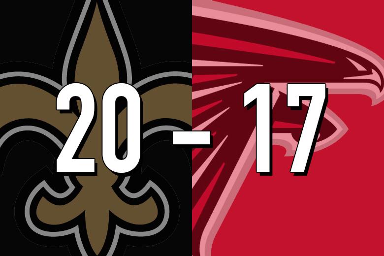 Saints 20, Falcons 17