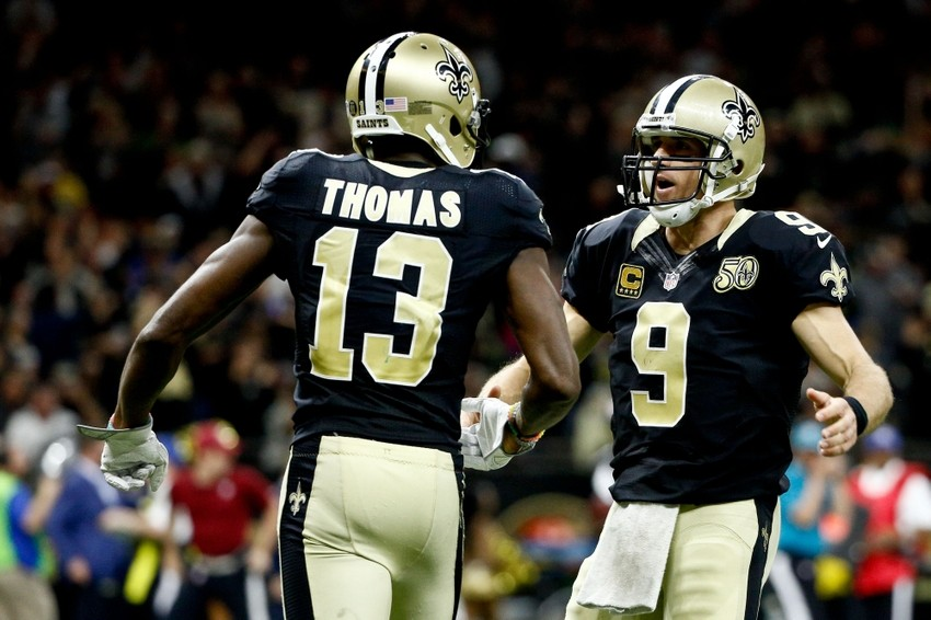 Drew Brees og Michael Thomas.