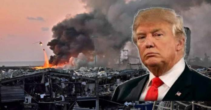 """US President Donald Trump said the huge explosion, that shocked Beirut,  appeared to be a """"terrible attack."""""""