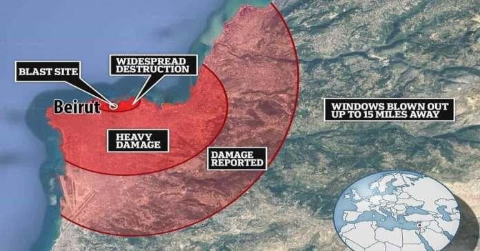 Blast area of Beirut explosion