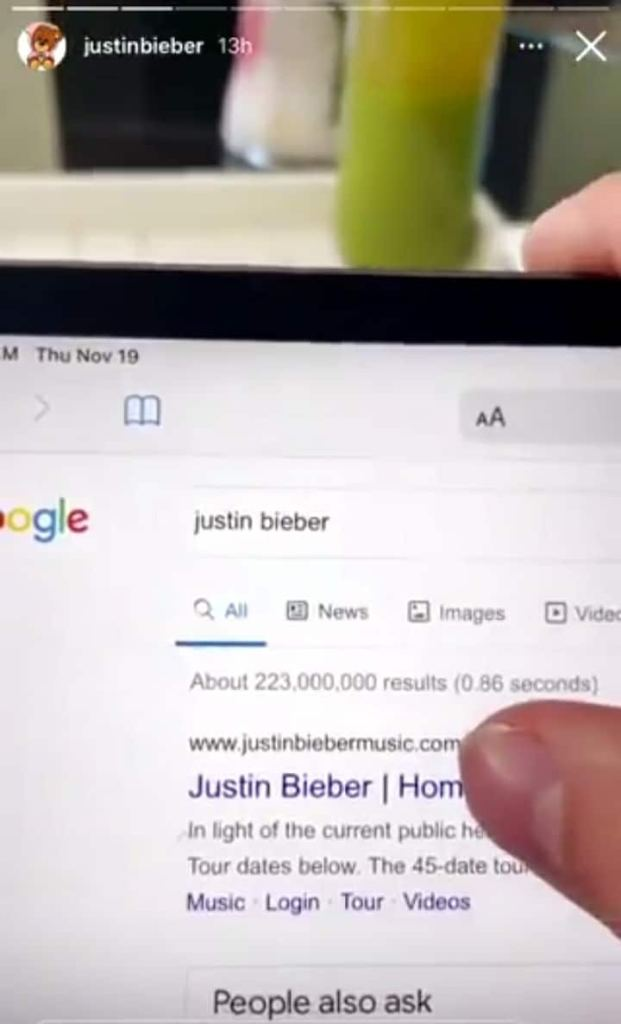 Justin Bieber calls out Google for their image search results on him.