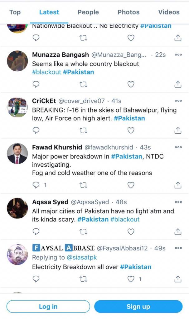 Power breakdown in whole Pakistan