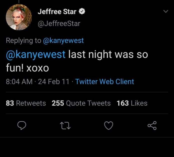 Alleged proof of Kanye West and Jeffree Star's relationship in the past