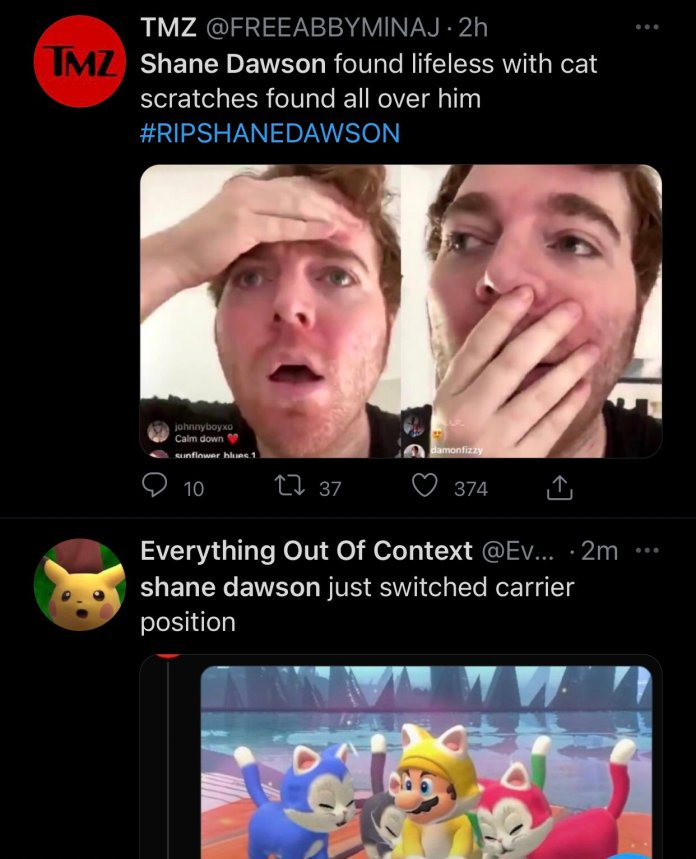 Screenshot of the Twitter post which shared the fake news of Shane Dawson's death