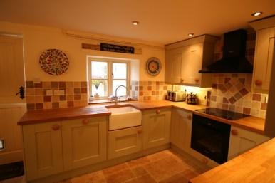Milbourne Shaker - Sage - Oak Worktops - belfast sink