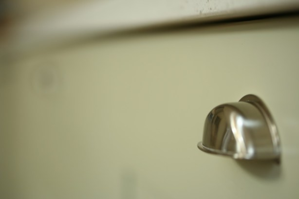 Brushed steel kitchen cupboard handle