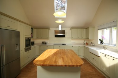 Shaker style painted timber with Fisher and Paykel American fridge freezer