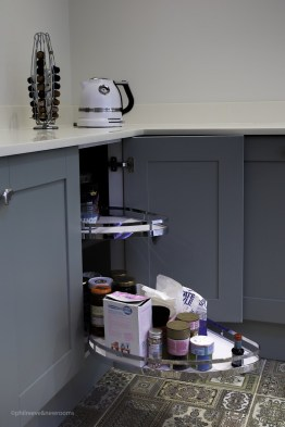 Pull out storage unit in painted kitchen