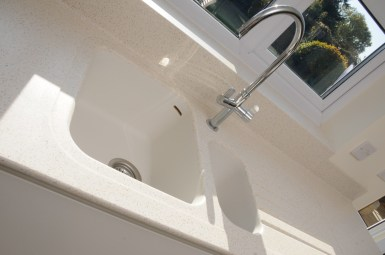 Corian Sink Finished in Cameo White