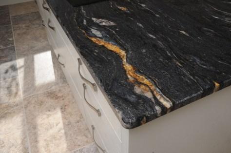 Granite worktop in Black Cosmic Leather