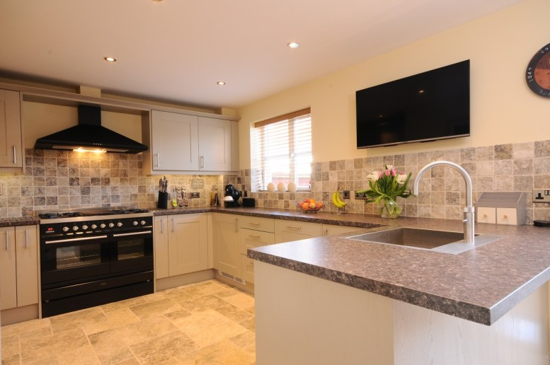 Contemporay Open Plan Kitchen Painted Stone