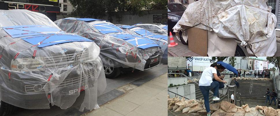 Автомобилисты Стамбула готовятся к урагану и граду