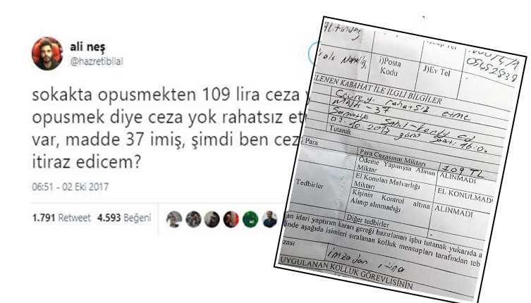 Полицейский оштрафовал целующихся на 109 лир