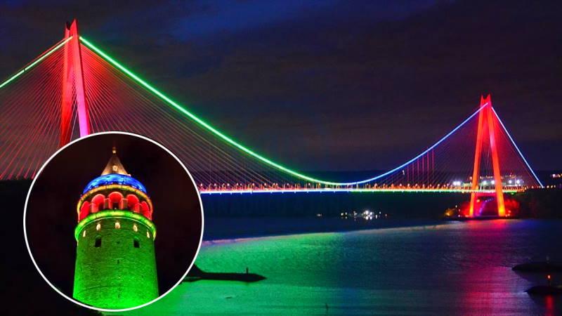 Стамбул осветился в цвета флага Азербайджана