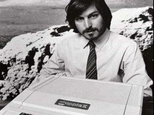 Steve Jobs with his new Computer in 1977