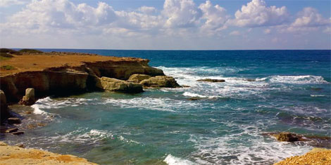 Pegia sea caves on the west cost of Cyprus north of Paphos