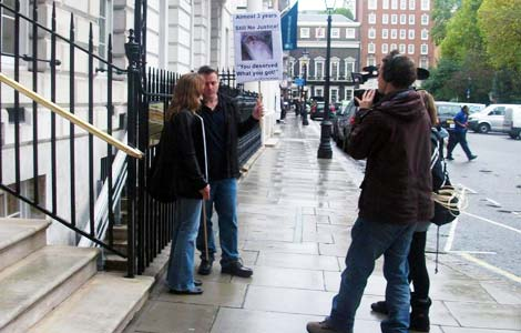 Conor & Michaela O'Dwyer with ITV film crew outside the Cyprus High Commission in London today