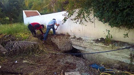 Pissouri landslide at Limnes undermining foundations