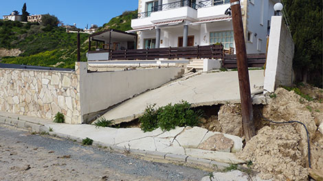 Cyprus: Pissouri home damaged by landslide