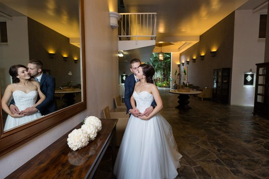 Bride and groom in front of mirror. Palm Cove wedding by excitations.com.au
