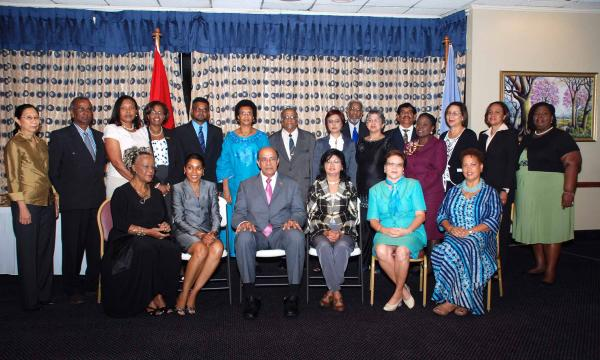 Minister Dr. Tim Gopeesingh with members of National Commission for UNESCO.