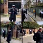 Reno Omokri and other Nigerians stage protest at Abuja house where President Buhari is lodging in the UK (video)