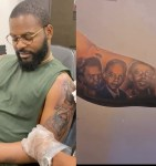 Singer, Falz gets tattoos of his family on his arm (videos)